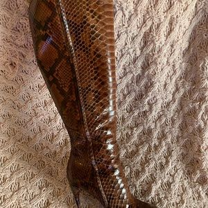Auth Gucci python snakeskin knee high boots!